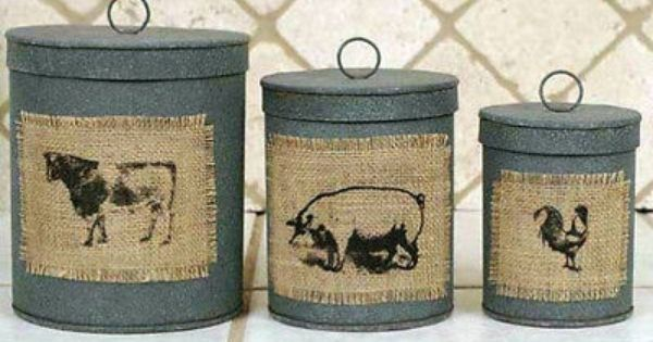 Primitive Country Farmhouse Chic 3 Cow Pig Rooster Burlap