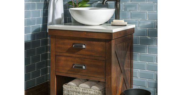 Style Selections Cromlee Bark Vessel Single Sink Poplar