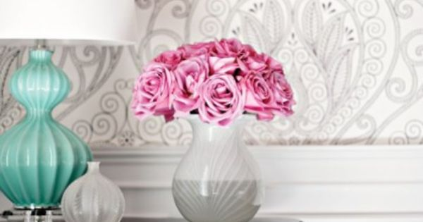 Great wallpaper, love the teal lamp, and fresh flowers!