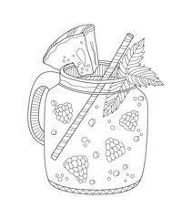 Lemonade Adult Coloring Page In Zentangle Style Adult Coloring