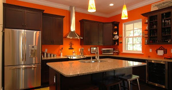 Brown Cabinets Orange Kitchen Walls