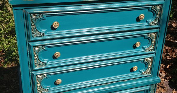 Peacock Blue With Gold Accents Vintage Broyhill Dresser Chalk Painted By URBANCottage Www