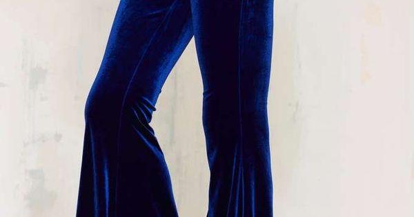 Women/'s Black Gothic Velluto Velour Flare Bell Bottom Leggings Pantaloni Halloween