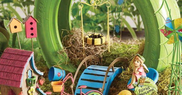 Bright Fairy Garden Fairies Garden Pinterest Gardens Girls And Recycled Tires