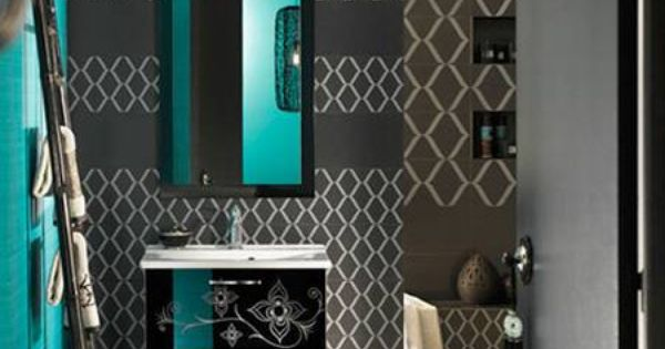 Dark grey and teal beautiful different for a bathroom for Dark teal bathroom accessories