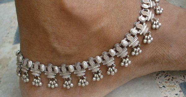 vintage anklet antique old silver anklet feet bracelet ankle chain noisy