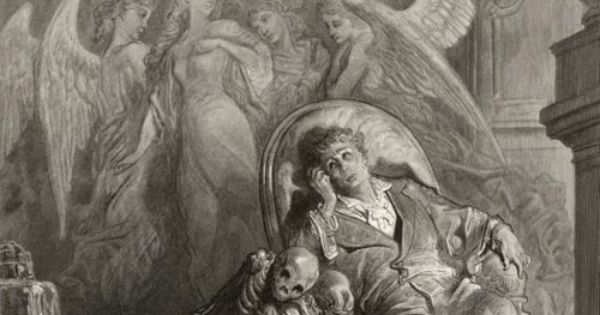 """Illustration for Poe's """"The Raven"""" by Gustave Dore ..."""