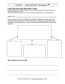 I Can Infer The Main Idea When I Read 3rd 8th Grade Worksheet Reading Graphic Organizers Main Idea Inference