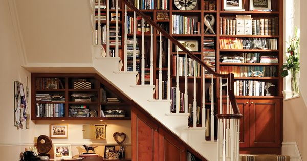 Bookcase Under Stairs Home Office Design; nice use of space