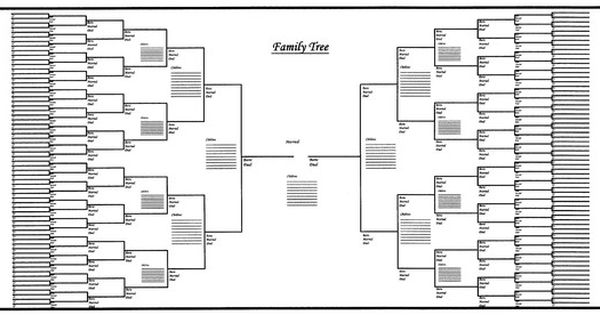 Large Family Tree Chart Bracket Style 48 Quot X 24 Quot Blank Family Tree Family Tree Printable Blank Family Tree Template