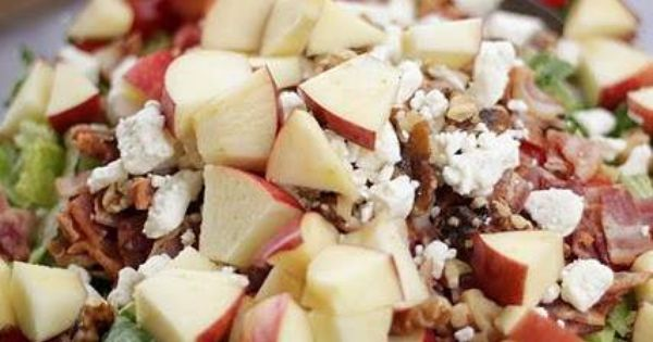 Amazing Raspberry Vinaigrette Salad! it has bacon, apples, walnuts, & feta chees