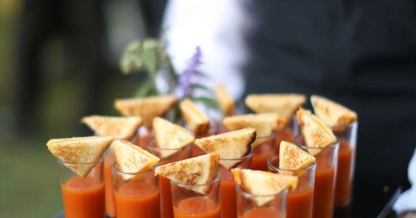 Tomato Soup Shots Outdoor Fall Charlottesville Wedding Reception at Keswick Vineyards