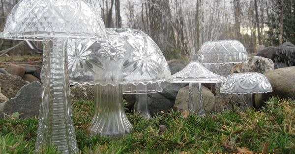 Crystal mushrooms made from cheap florist vases, punch bowls and light fixtures.