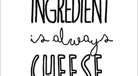 Kitchen art print The secret ingredient... - cooking quote typographic print letterpress