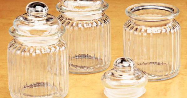 Small glass jars zoom bathroom pinterest small for Small bathroom jars