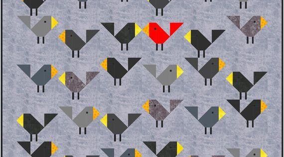 Black Birds Quilt Pattern PDF Instant Download Modern