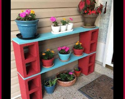 Dollar store crafter cinder block plant stand shelf for Cinder block plant shelf