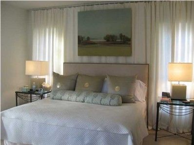 Hanging Curtains On Walls Yahoo Search Results Guest Bedroom Remodel Bedroom Wall Curtains Behind Bed
