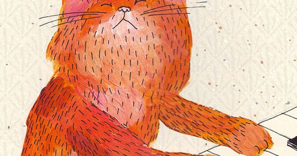 lukava illustration red cat playing piano art prints postcards posters