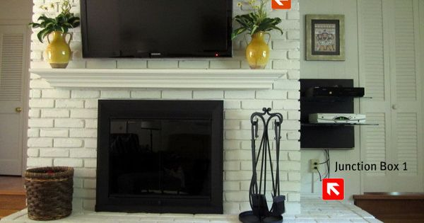 How To Mount A Tv On A Brick Fireplace Mantels Mounted Tv And Brick Fireplace