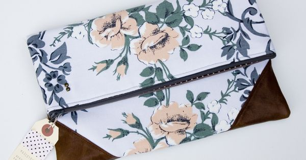 foldover clutch in grey + peach vintage floral