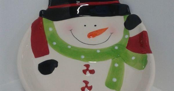 Bandeja en cer mica en motivos navide os de papa noel y el for Bandejas de navidad