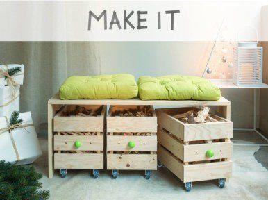 Diy Realiser Un Banc En Bois Avec Des Rangements A Roulettes Storage Bench Diy Deco Home Decor