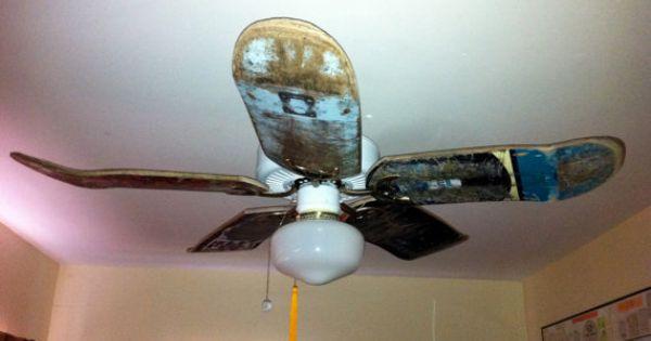 Used skateboard deck ceiling fan blades recycled ideas for Repurpose ceiling fan motor