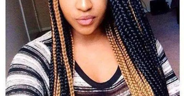 Mixed Color Box Braids Afro Hair Styles Protectives
