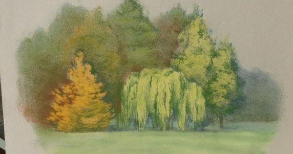 Peinture arbres en automne dessin au pastel sec paysage - Dessin au pastel sec ...