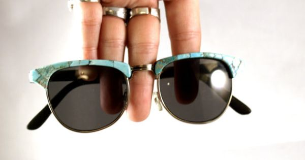 Cool sunglasses on Etsy by Doug & Beca http://www.etsy.com/people/tumbleweedsoddities?ref=ls_profile http://www.etsy.com/listing/93913321/fawns-turquoise-faced-sunglasses?ref=fp_featured_item