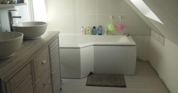 baignoire douche lapeyre sous comble parquet blanc