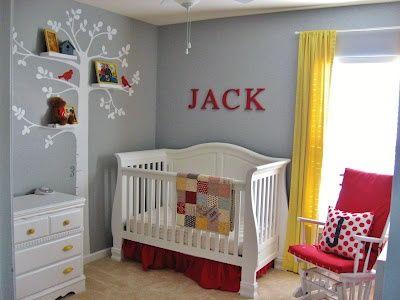 Nursery Gray Yellow Red Maybe Baby Pinterest White