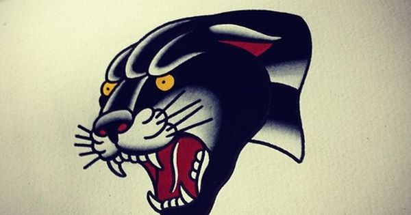 Tattoo old school traditional nautic ink panther for Old school panther tattoo