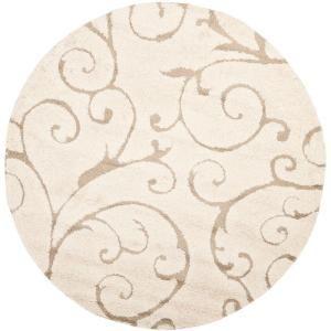 Safavieh Florida Shag Cream Beige 5 Ft X 5 Ft Round Area Rug