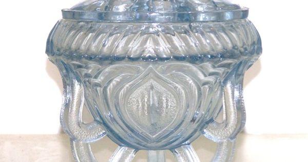 Art Deco Ice Blue Depression Glass Rose Bowl Vase Amp Frog
