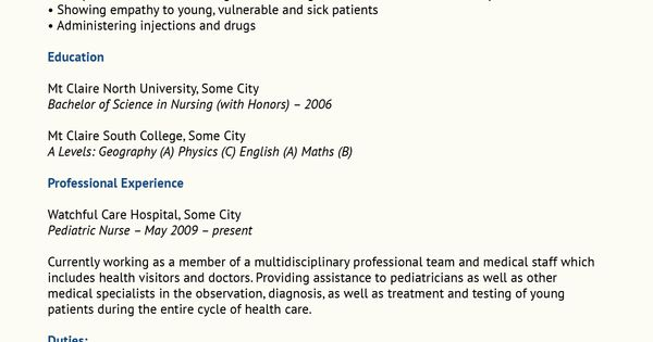 Pediatric Nurse Resume Sample