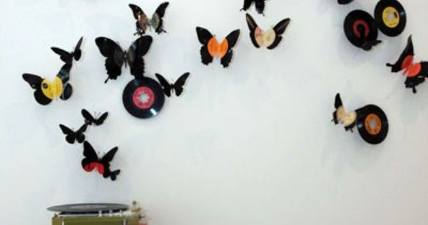 old records into butterfly wall art; I have a lot of old