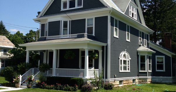 Flint Grey White Trim Exterior House Colors Pinterest