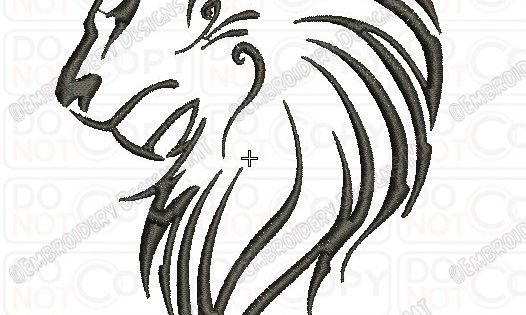 Lion outline tribal embroidery design in 3x3 4x4 and 5x7 for 3x3 tattoo ideas
