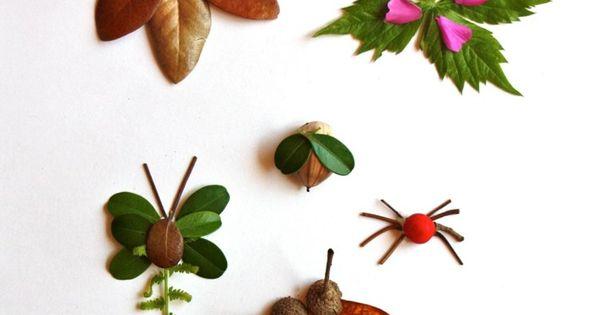 basteln sie mit den kindern insekten aus laub und frischen bl ttern pinteres. Black Bedroom Furniture Sets. Home Design Ideas