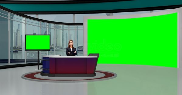 Education 027 Tv Studio Set Virtual Green Screen Background Psd