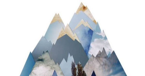 cut out paper mountain art design typography