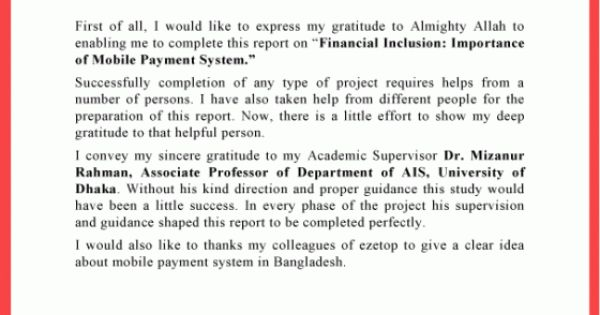 acknowledgement for thesis project