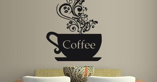 Wall vinyl sticker decals decor art kitchen design mural for Tea and coffee wall art