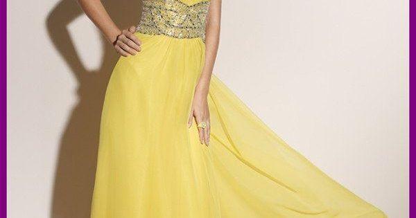 yellow dress formal 90th