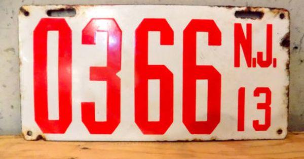 1913 New Jersey Porcelain License Plate 0366 Vintage Nj Car