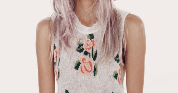 lilac hair and flower