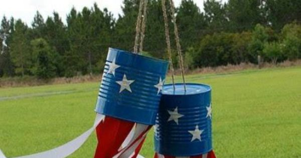 DIY July 4th decoration with tin cans. july4th Children's Dentistry of Chicopee