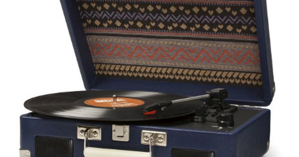 Sara Navy Patterned Vintage Style Suitcase Record Player